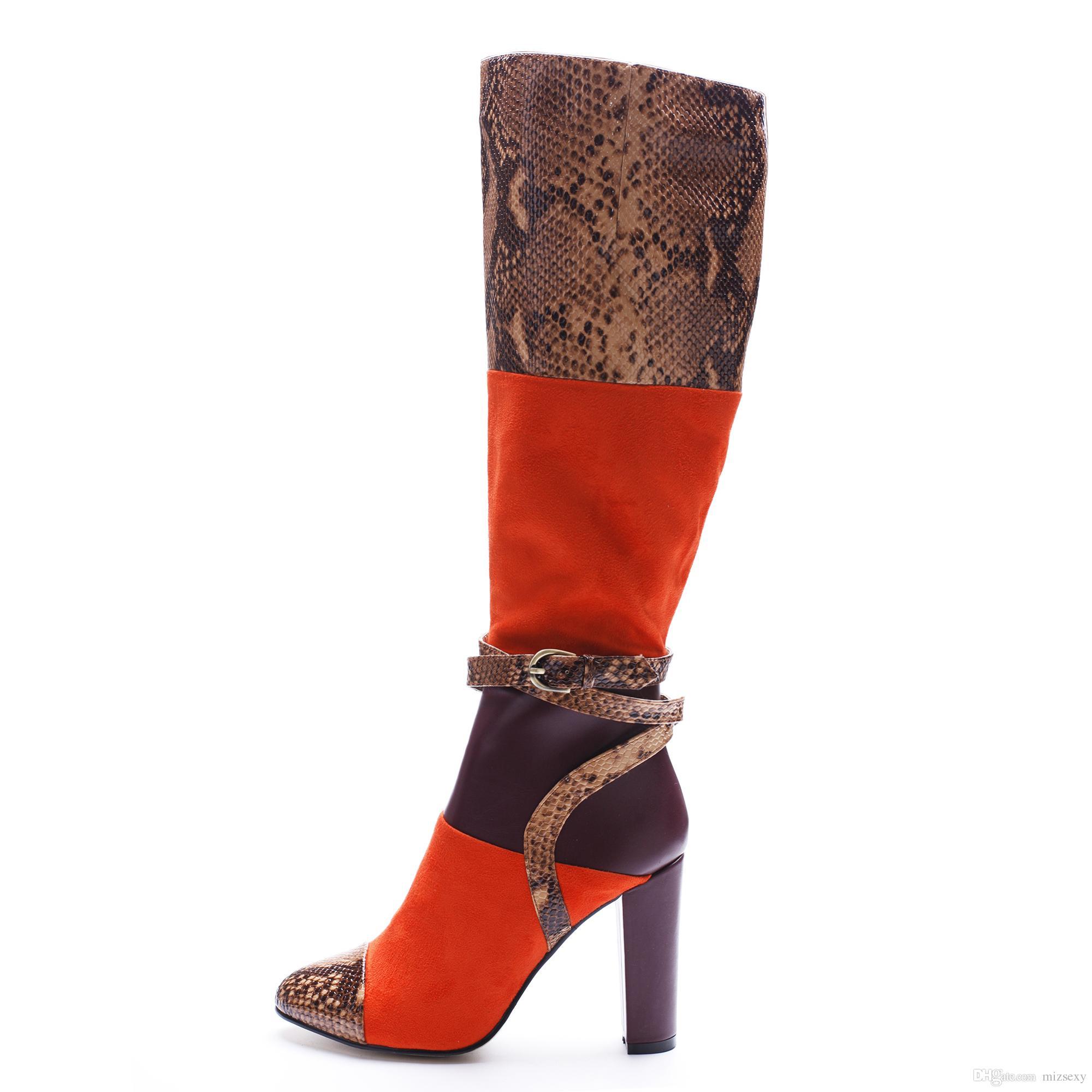 2018 novo acordou moda botas toes fivela cor misturada zip robusto salto inverno mulheres na altura do joelho-botas de cano alto sapatos de salto alto mulheres sapatos mulheres