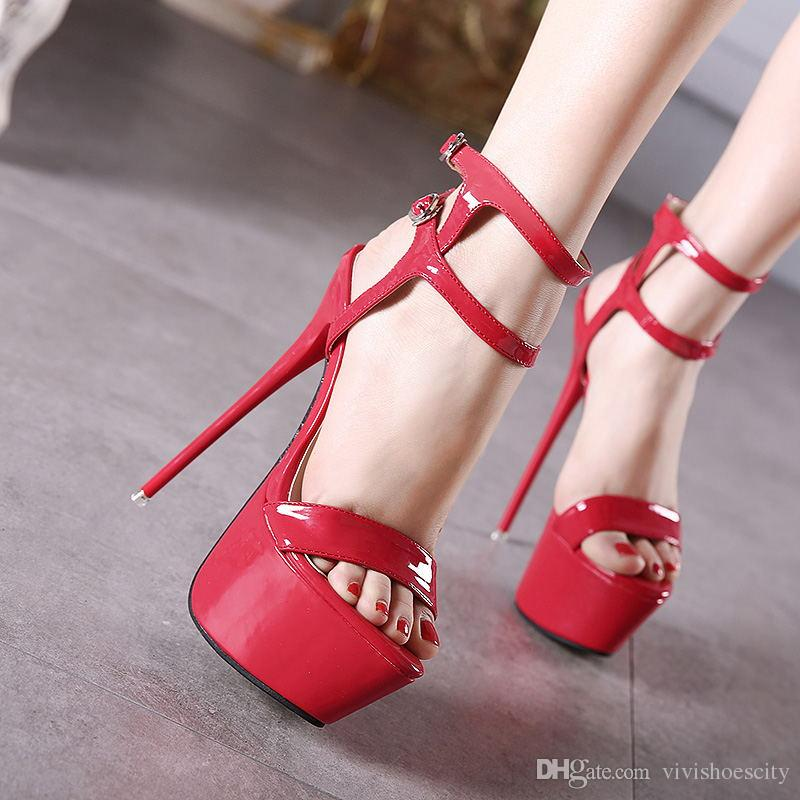 24b8d9b4668d 16CM Extra High Heels Sexy Red Wedding Shoes Women Platform Sandals Party  Club Wear Size 34 To 40 Mens Chelsea Boots Pink Shoes From Vivishoescity