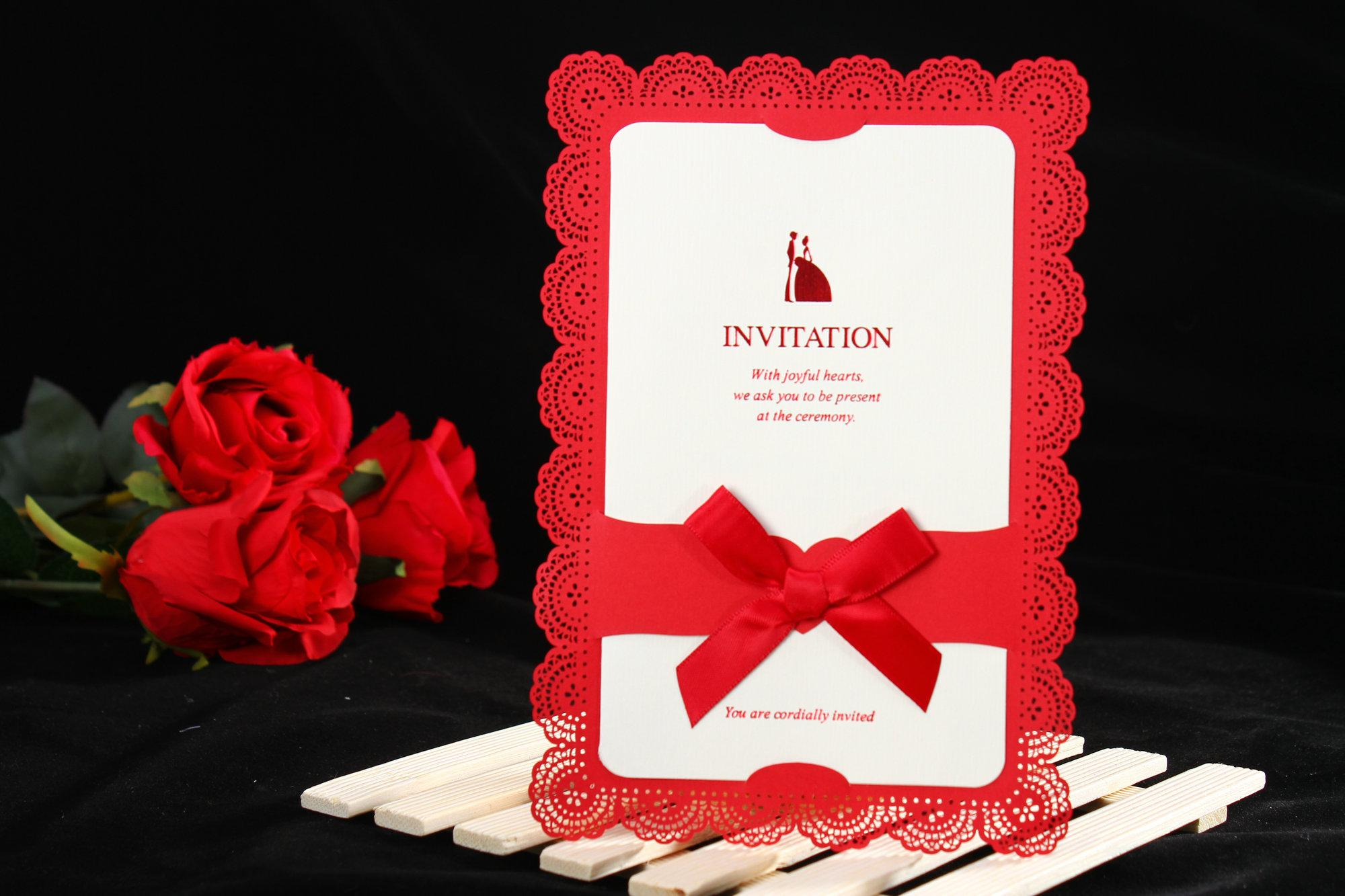 Wedding Supplies Invitations Hollowed Out Lace Ribbon Layered Modern ...