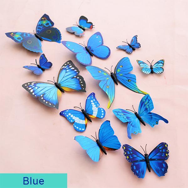DIY 3D Schmetterling Wandaufkleber Kunst Design Decals Room Decor Home Decor 1 Satz = 12 Stück