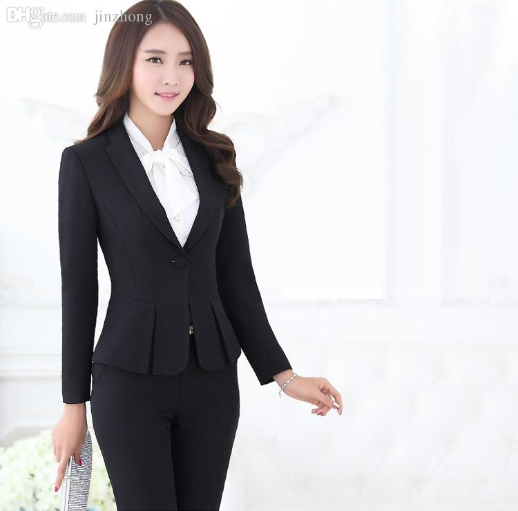 a42b1a9f836 2019 Wholesale Formal Pant Suits For Women Business Suits Formal Office  Suits Work Black Blazer Ladies Office Uniform Styles OL Pantsuits From  Jinzhong