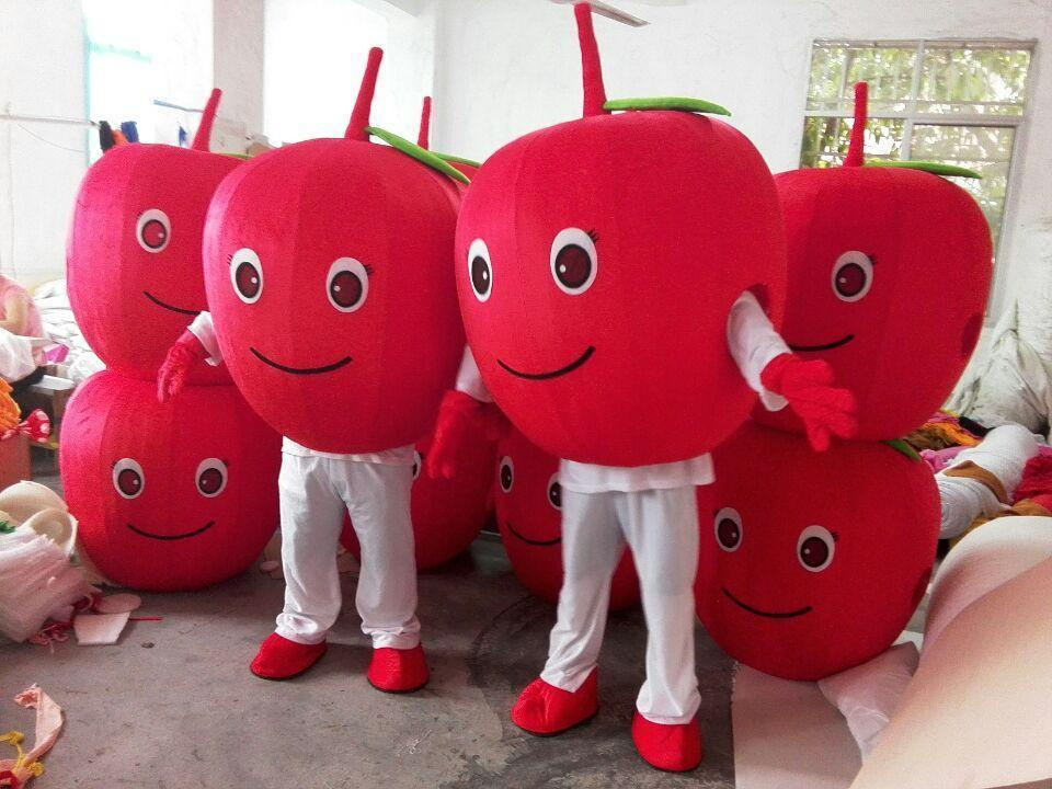 2016 new customized red apple mascot costumes fruit mascot costumes halloween costumes chirstmas party adult size fancy dress make mascot head patrick - Apple Halloween Costumes