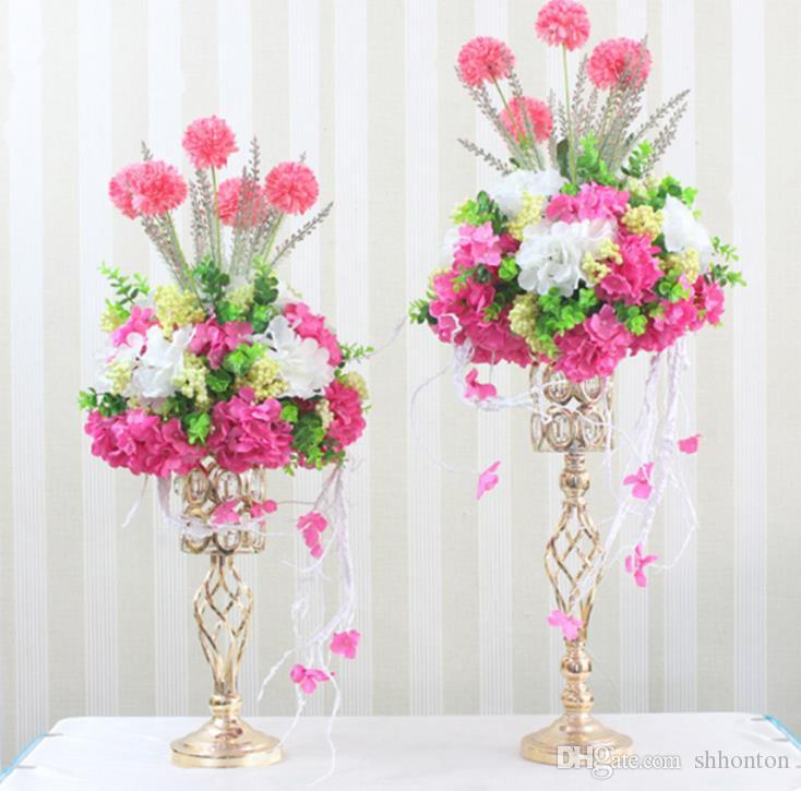 Gold electroplated iron flower vase of wedding props stage background creative household European furnishings WQ17