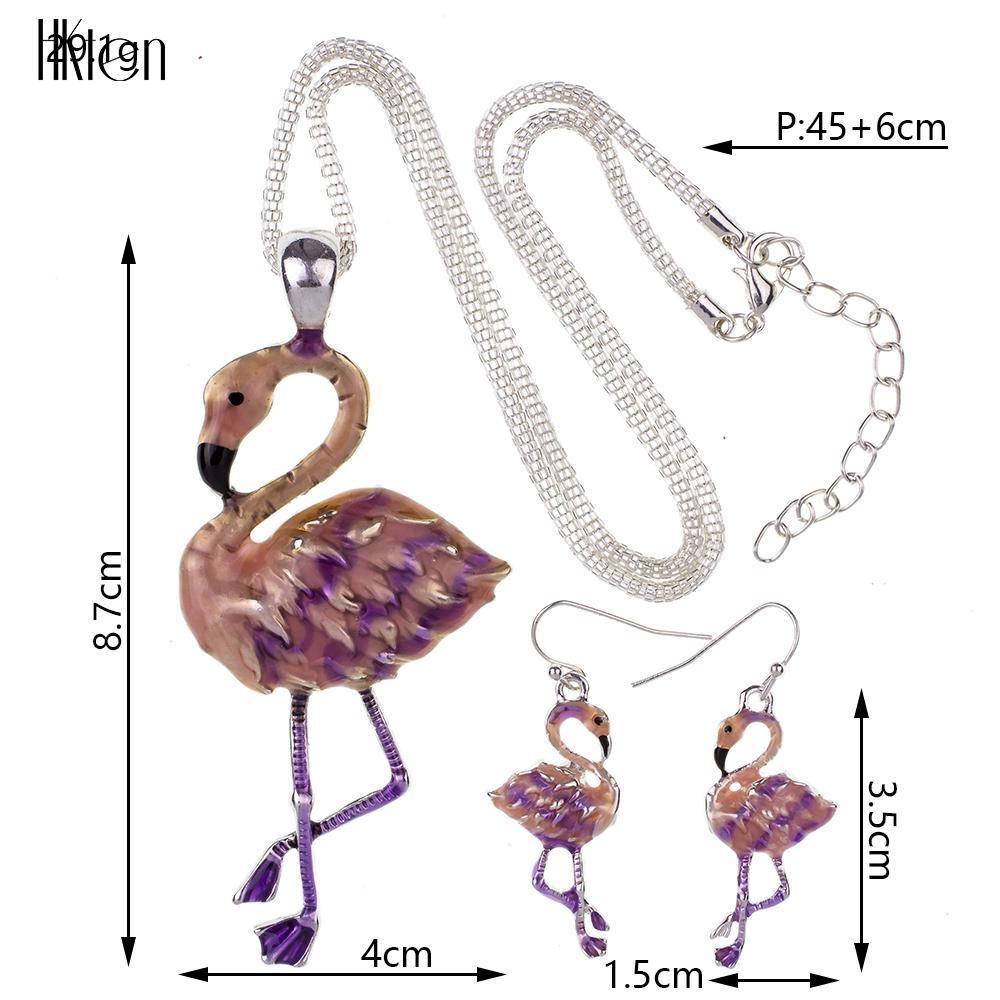 MS1504433 Moda Elefante Conjuntos de Joyas de Alta Calidad Chapado En Plata Multicolor Colgante Flamingo Collar Pendiente Conjuntos gargantilla