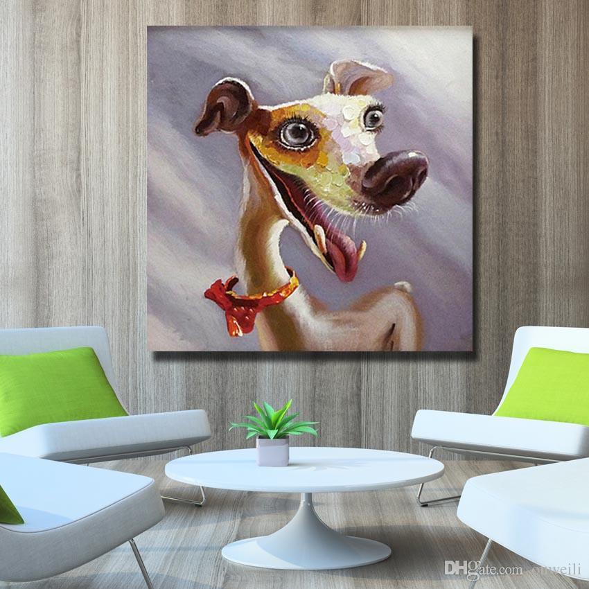 Pintados à mão animal pet dog pintura a óleo dos desenhos animados imagem animal para decoração do quarto dos miúdos grande arte da lona barato
