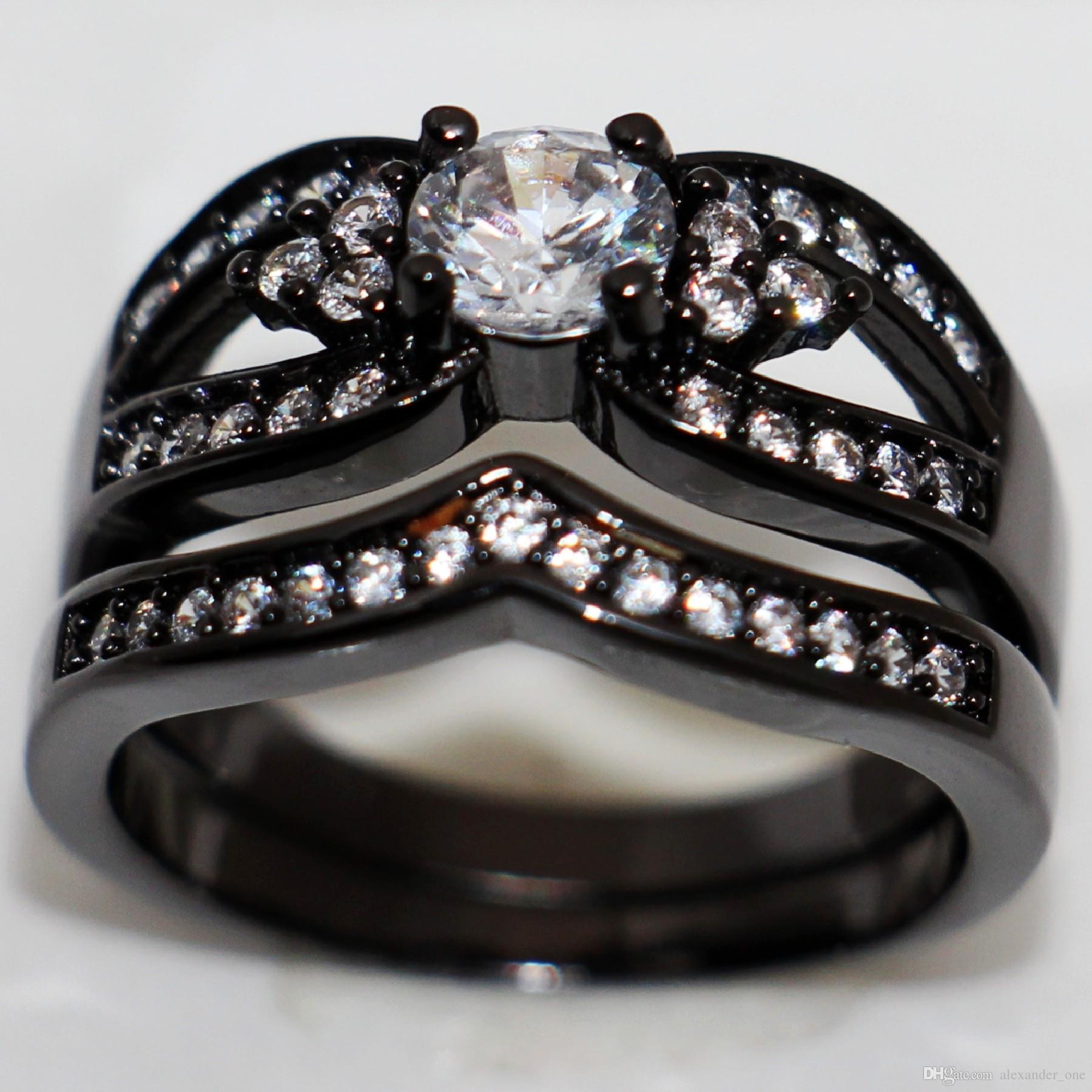 2016 스털링 실버 블랙 골드 링 세트 패션 여자의 손가락이 여성의 참여 웨딩 손가락 반지 새로운 디자인 보석 반지 지르콘