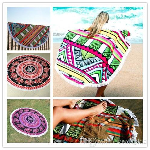 Indian Round Mandala Tapestry Polyester Round Beach Towels