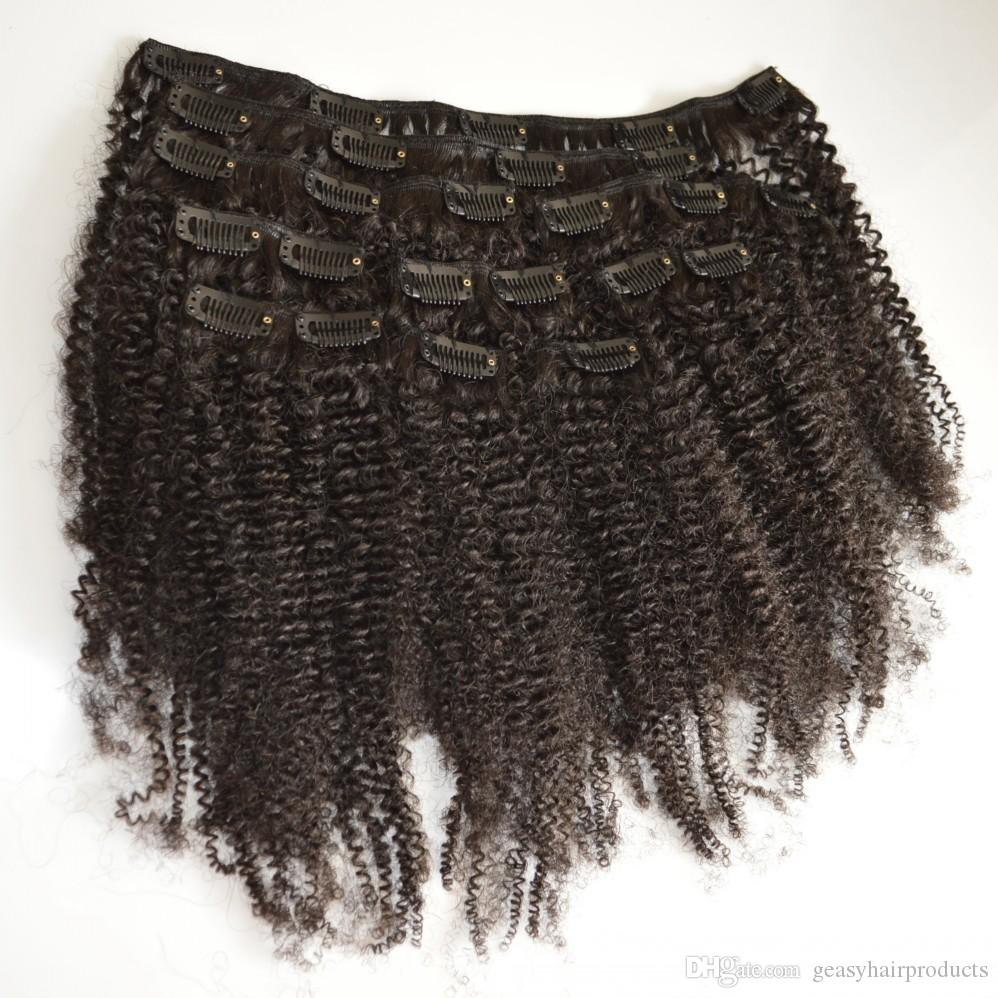 Brazilian Afro Kinky Curly Clip In Human Hair Extensions 4a 4b 4c Natural Black Brazilian Curly Hair Clip Ins G-EASY