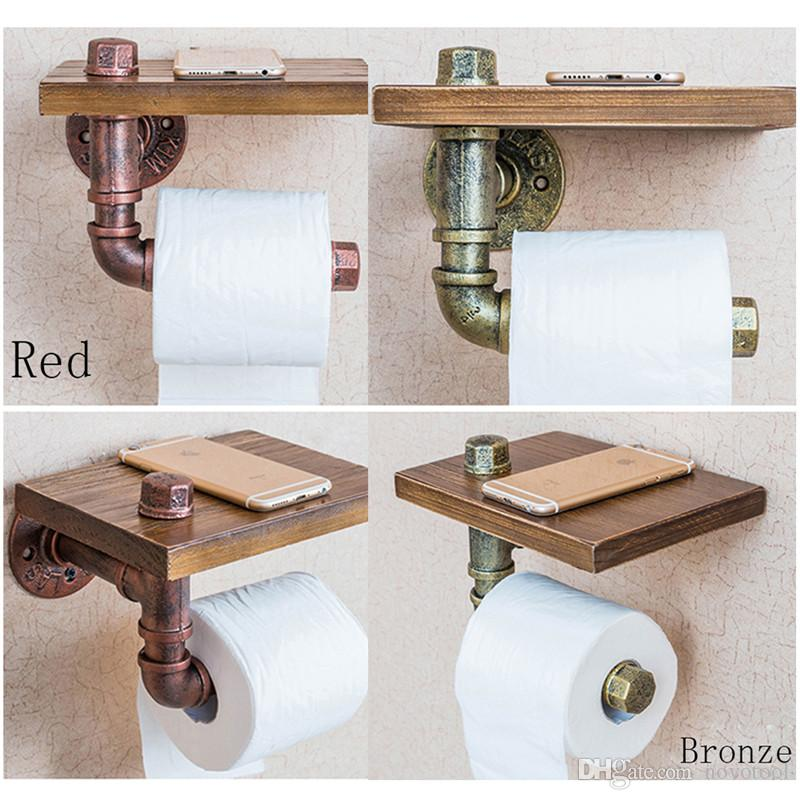 2018 Wooden Bathroom Toilet Roll Paper Holder Wiht Phone Shelf Retro Wall Mounted Bathroom Storage Rack Paper Towel Holder From Novotool $50.25 | Dhgate. & 2018 Wooden Bathroom Toilet Roll Paper Holder Wiht Phone Shelf Retro ...