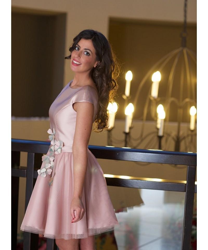 Blush Pink Junior Vestidos de Fiesta Joya Cuello Gorro Mangas Flores Apliques Organza Vestido de Fiesta de Graduación Corto Vestidos de Cóctel BA2952