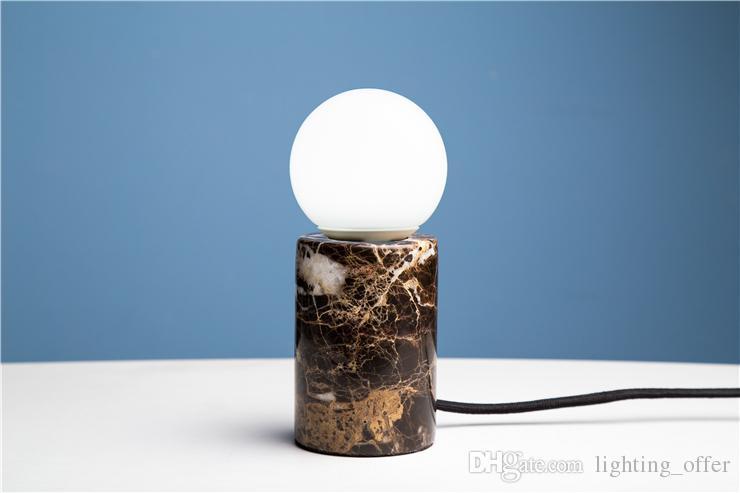 Kişiselleştirilmiş mermer masa lambası dairesel yaratıcı bir çağın yeni dönemi E27 LED Lamba