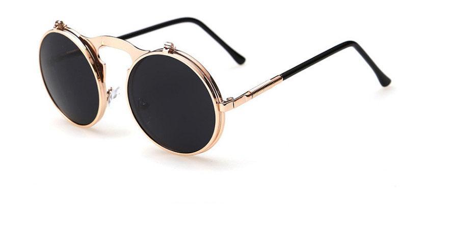Nuevas gafas de sol redondas de metal redondas del diseñador Lente de cristal de destello dorado para hombre Para mujer Gafas de sol de espejo Unisex gafas de sol redondas