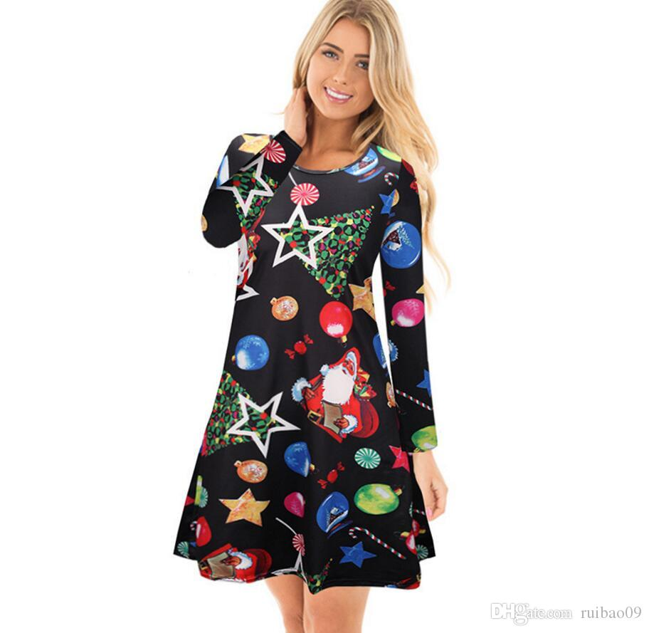4XL 5XL Big Size Casual Print Cartoon Christmas Tree Cute Loose Dress  Autumn Winter A Line Dresses 2017 Plus Size Women Clothing Inexpensive  Cocktail ... 6c724fb7c2a6