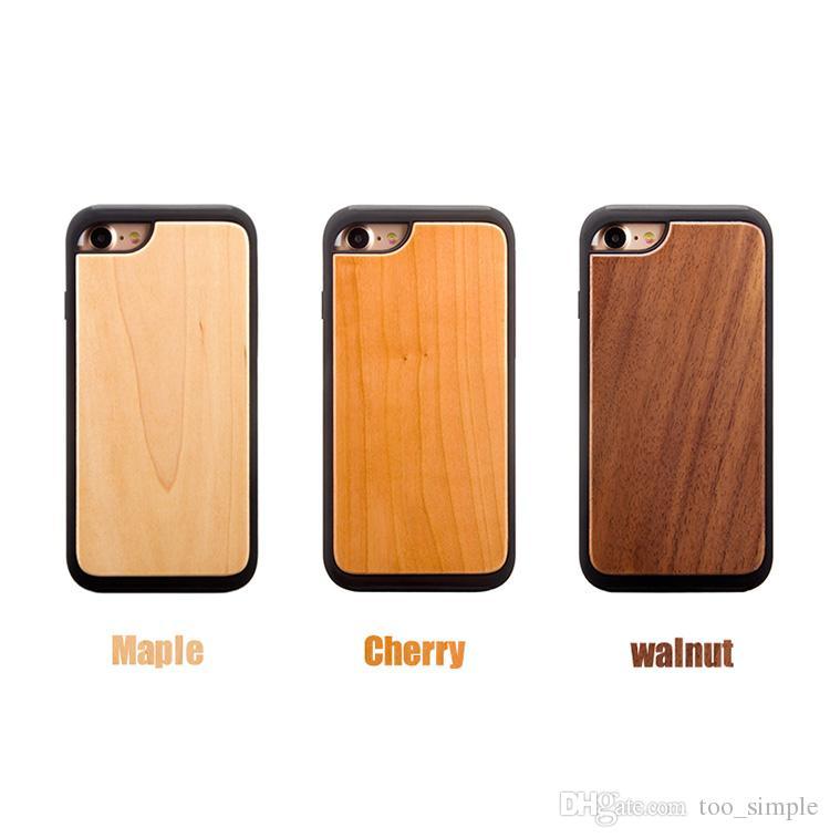 Pour iPhone 7 8 Real Wood Case De Mode En Bois Souple TPU Protecteur D'écran Antichoc Pour iPhone 6 6s Plus Avec DHL