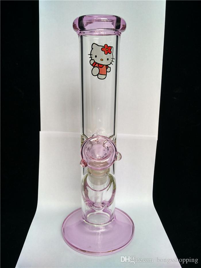 Wholesale pink kitty bong very thick glass straight Ketty Glass smoking pipes base water percolate Glass bongs
