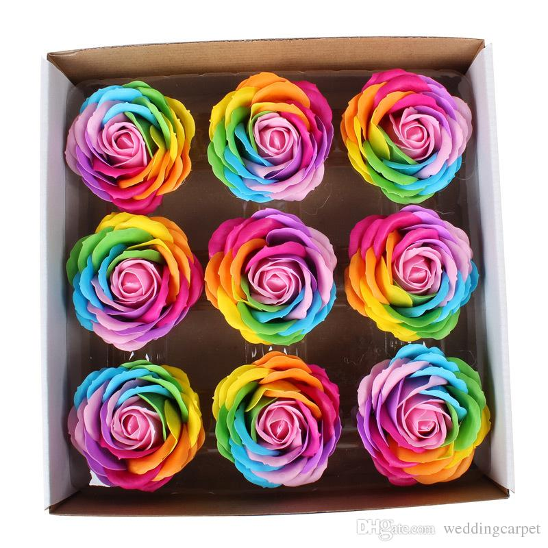 Rainbow ful Rose Soaps Flower Packed Wedding Supplies Gifts Event Party Goods Favor Toilet soap Scented bathroom accessories