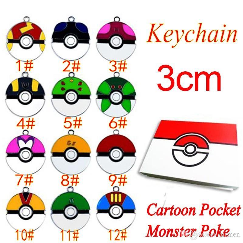 Newest Cartoon Pocket Monster Pikachu Action Figures Poke Ball Anime Keychain Keyring Pendant Halloween/christmas gifts 2016 New