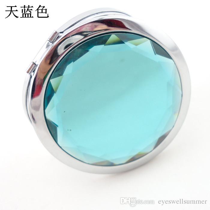 7 cm Ile Katlanır Kompakt Ayna Kristal Metal Cep Aynası Düğün Hediyesi Için Taşınabilir Ev Ofis Kullanımı Makyaj Aynası