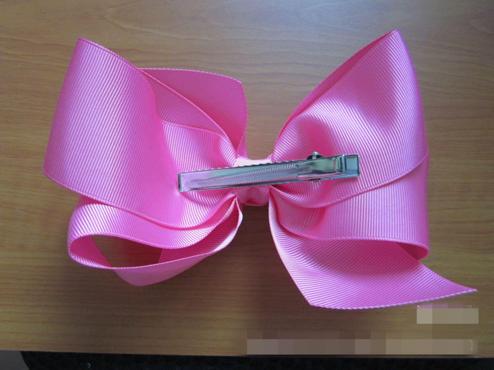 "New 6"" 15cm Kids Girls big Hair bow clip screw thread Bow Hairpin cotton Duckbill clip for baby Barrettes Hair Accessories"