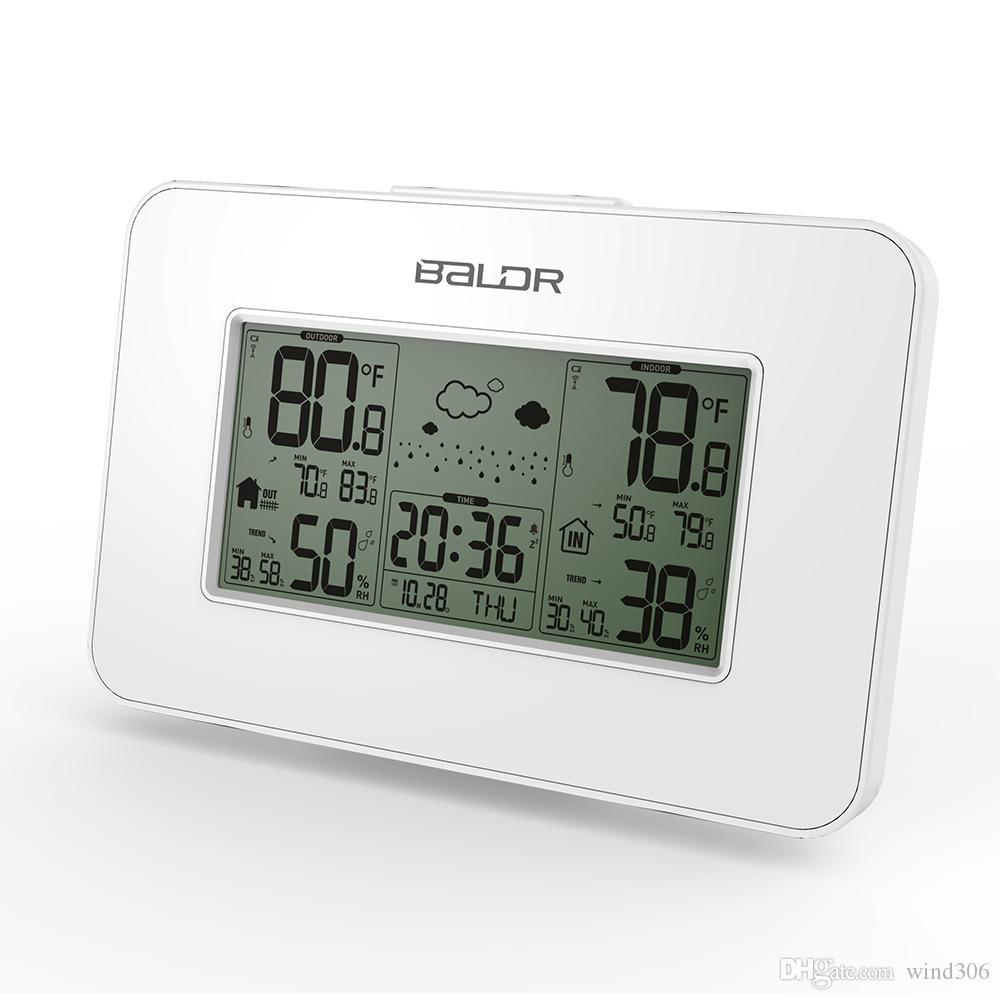 2018 White Baldr Weather Station Clock Indoor Outdoor Temperature ...