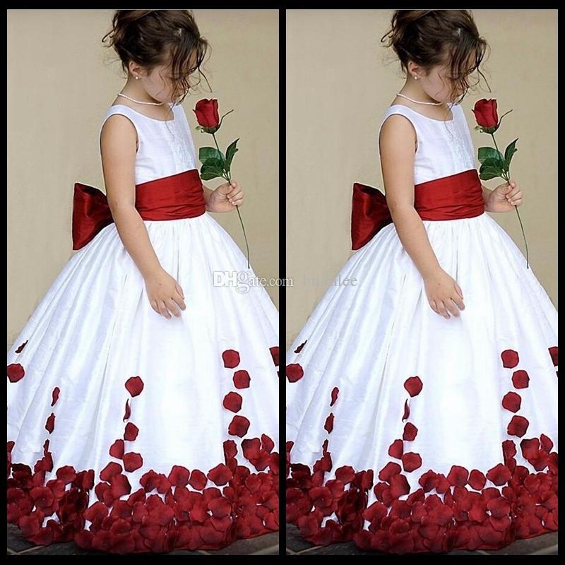 Red And White Flower Girl Dresses Dress Nour