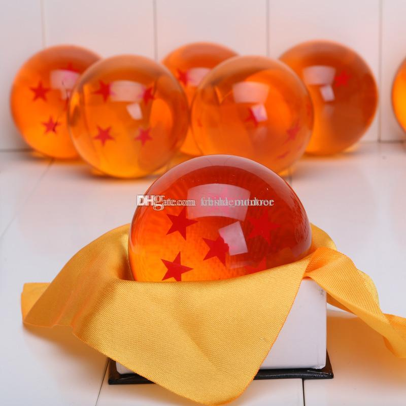 Japón Anime Dragon ball Z estrella bola de cristal tamaño grande pelota empacada en una caja o bolso de opp aproximadamente 7 cm