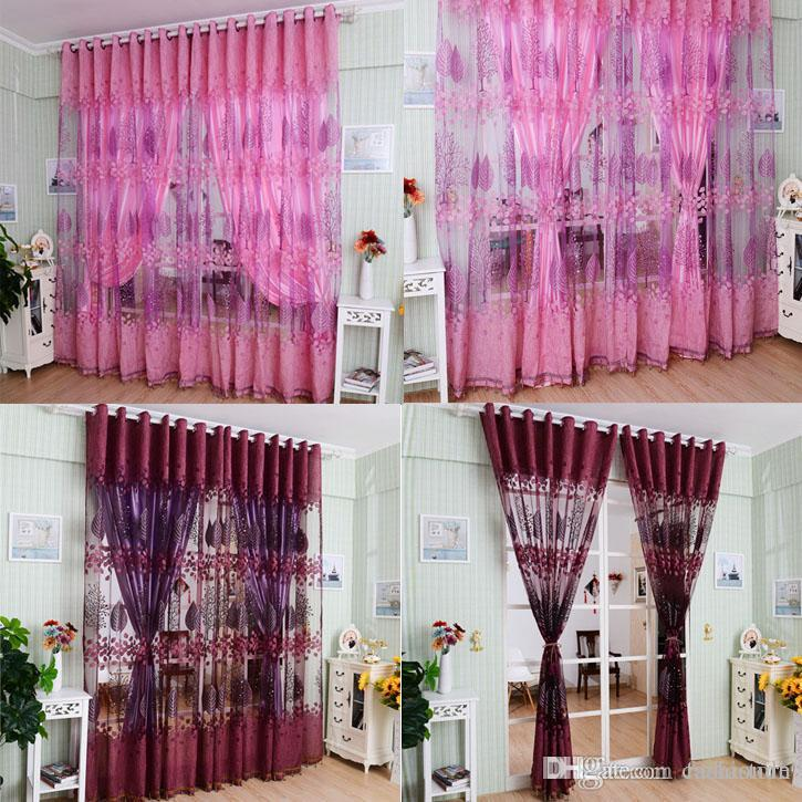 1Pc Luxurious Upscale Jacquard Yarn Curtains Tulle Voile Door Pink Purple  Window Curtains Syeer Sheer Curtains E00619 FASH