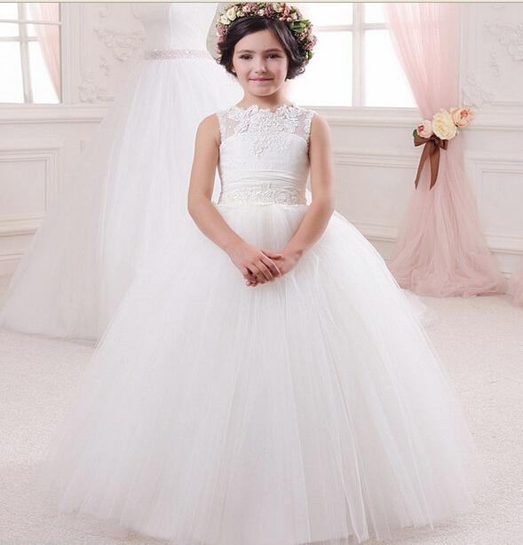 아이보리 레이스 꽃 여자 드레스 결혼식 communion 복장 간단한 디자인 레이스 소녀 드레스