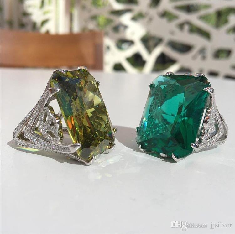 Tamaño de lujo 6/7/8 Joyería topacio blanco CZ princesa corte simulado diamante 22kt blanco Gold Filled Wedding Engagement Ring regalo