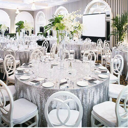 132 Round Silver Sequin Table Cloth For Wedding Cheap