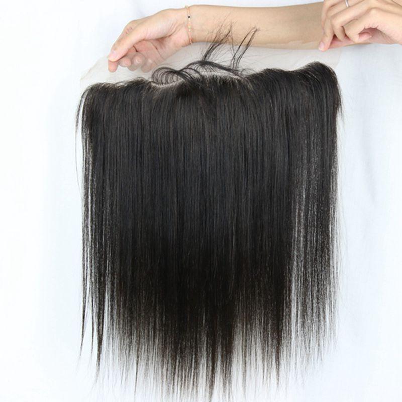 레이스 정면 클로저 조각 버진 인간의 머리카락 스트레이트 13x4 전체 레이스 아기 머리와 정면 브라질 인도의 머리카락 확장