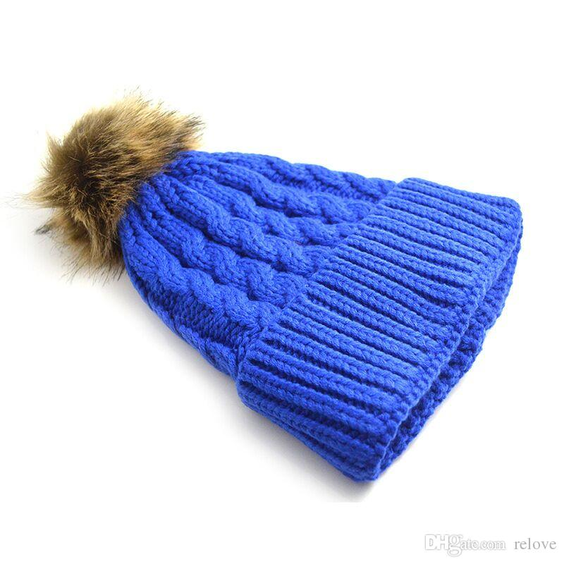 Retail Women's Fashion Knitted Cap Autumn Winter Cotton Warm Hat Skullies Heavy Hair Ball Twist Beanies Solid Color