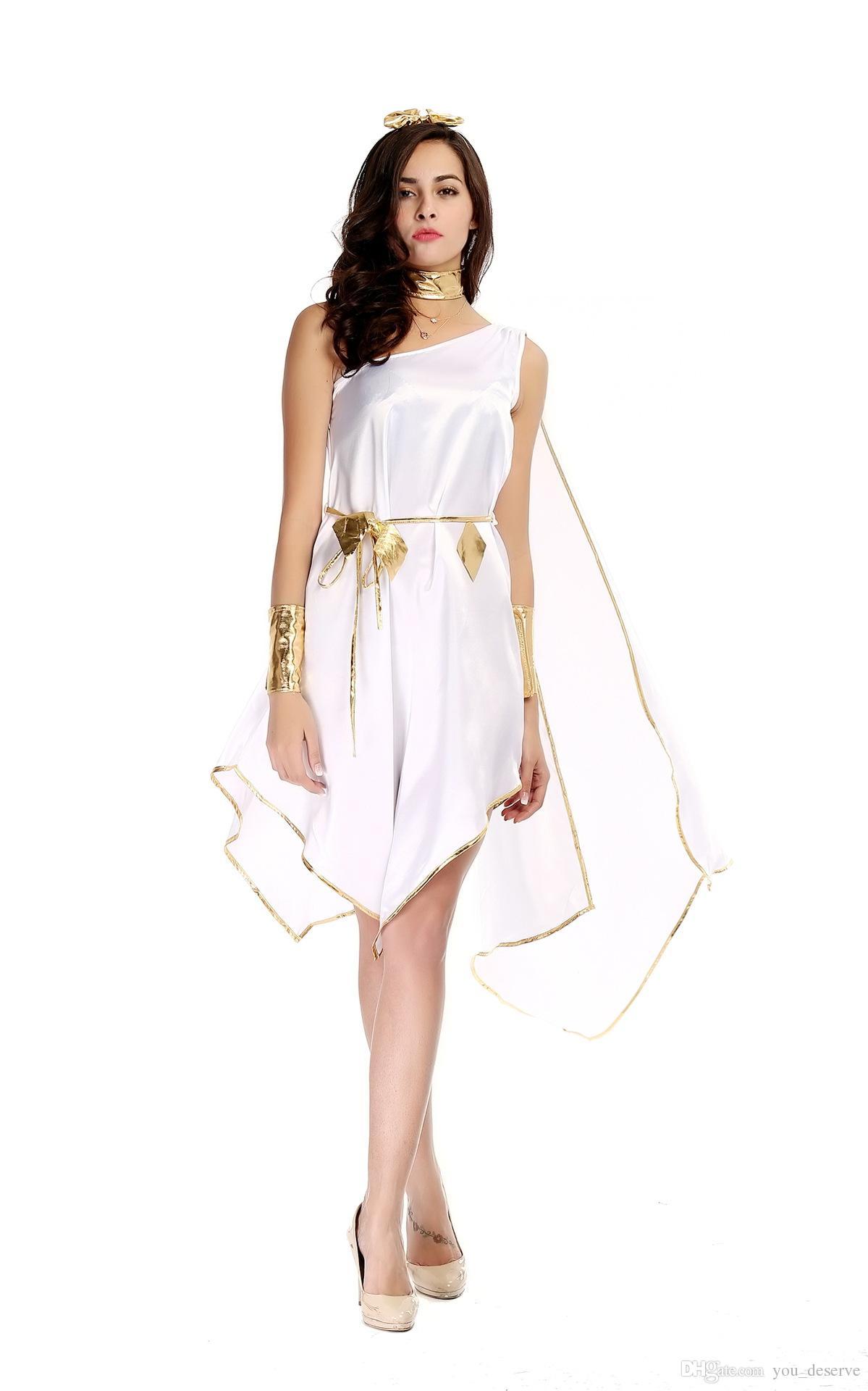 Nova deusa grega branco irregular longo vestidos Sexy Cosplay trajes de Halloween One-ombro uniforme tentação desempenho de palco roupas
