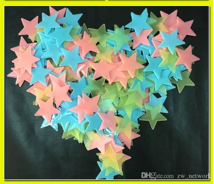 DHL!Star Wall Stickers Glow In The Dark Baby Bedroom Decor Color Stars Luminous Fluorescent Wall Stickers 100 pcs/bag 77