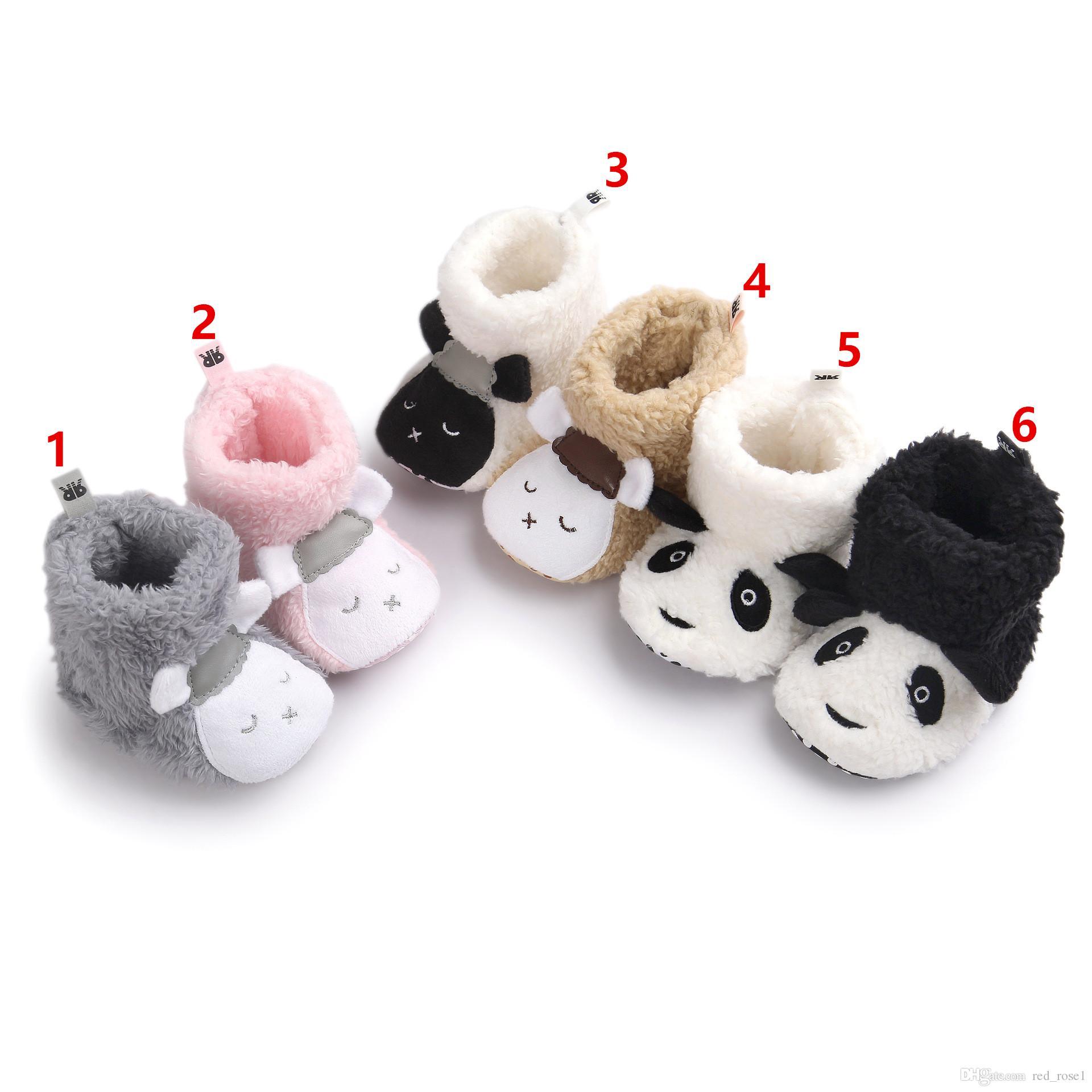 겨울 귀여운 팬더 동물 스타일 아기 부츠 아기 소년 소녀 첫 번째 워커 신발 아기 만화 부티 유아 유아 신발