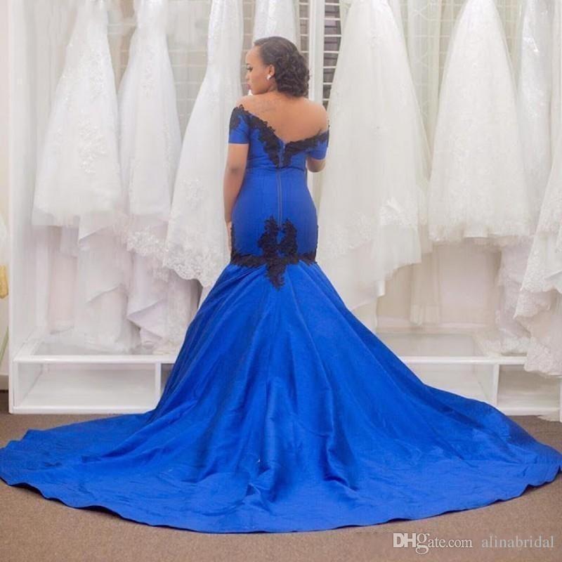 2016 Azul Royal Sereia Vestidos de Festa Vestidos de Fest Sexy Fora Do Ombro Preto Applique Trem Da Varredura Longa Festa Formal Vestidos de Baile 2016