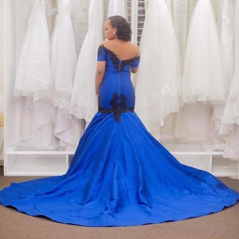 2016 königsblau meerjungfrau abendkleider vestidos de fest sexy schulterfrei schwarz applique sweep zug lange formale partei abendkleider 2016