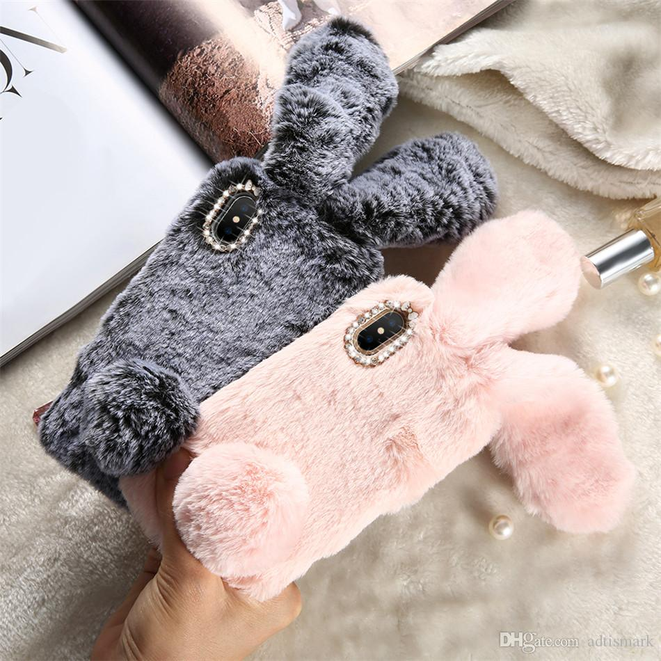Christmas Rabbit Case For iPhone X 8 7 Plus Cute Cover For iPhone 6 6S Plus 5 5S SE 5C 4 Case Silicone Diamond Bling Coque