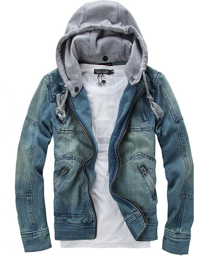 Tops Cotton Mens Denim Jacket Hoodie Outerwear Hooded Winter ...