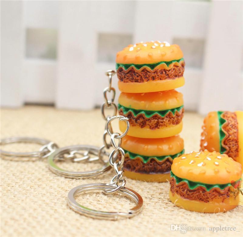 Hamburger porte-clés porte-clés porte-clés pendentif porte-clés porte-clés porte-clés garçons filles femmes hommes Noël promotion cadeau accessoires de mode