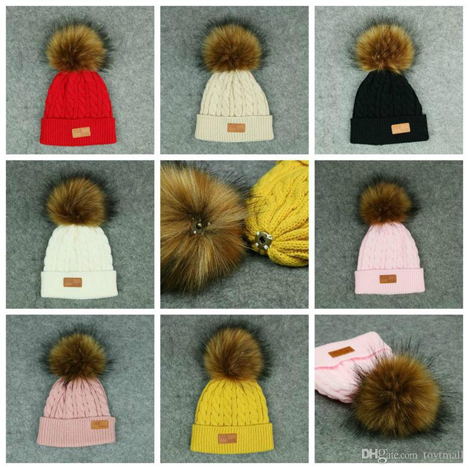 cfde9bd624c Kids Pom Pom Knitted Beanie Women Winter Detachable Fur Ball Hat ...