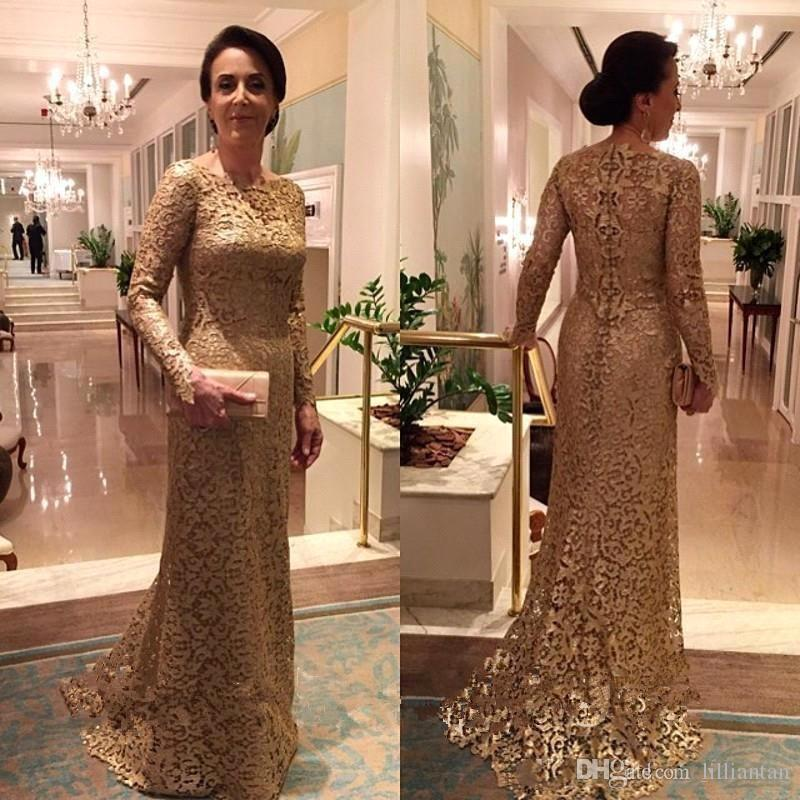 Gold Lace Elegant Women Formal Evening Gowns Long Sleeve Mother of the Bride Lace Dresses Lady Wedding Party Evening Dresses mother bride