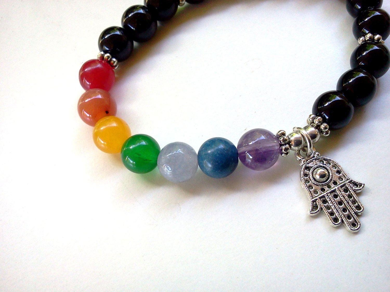 Pulsera de chakra, pulsera de Hamsa, pulsera de 7 chakras, pulsera de palma, pulsera de Hamsa chakra, pulsera de ónix y chakra, pulsera Rainbow