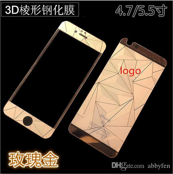for Iphone7 7Plus 6g 5s Colorful 3D Diamond Design Mirror Effect Color Tempered Glass Screen Protector Front Plus Back With retail package