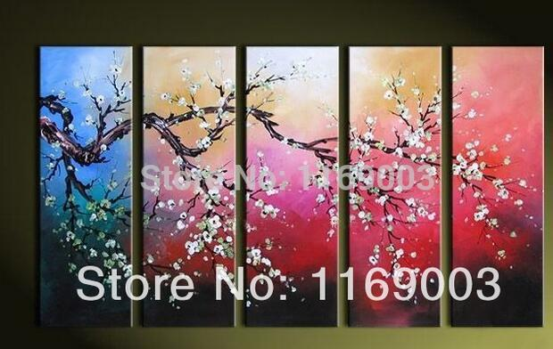 Cherry Blossom Canvas Wall Art 2017 5 panel abstract canvas wall art four season cherry blossom