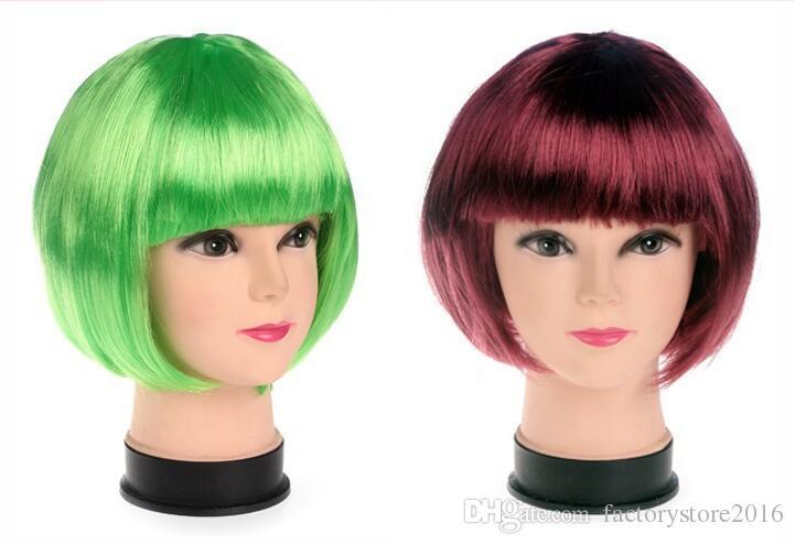 Yeni Moda BOB tarzı Kısa Parti Peruk Şeker renkler Cadılar Bayramı Noel Kısa Düz Cosplay Peruk Parti Fantezi Elbise Sahte Saç Peruk