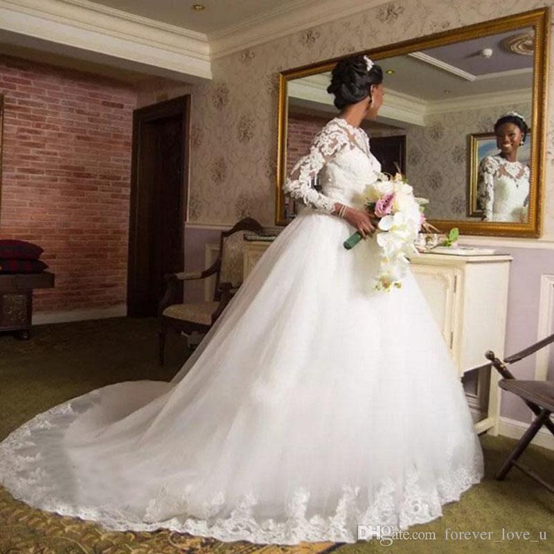 85572a6561 Compre 2018 Fabuloso Vestido De Novia Africano Sheer Joya Cuello Ilusión  Mangas Largas Apliques De Encaje Falda De Tul Vestidos De Novia Tribunal  Tren A ...
