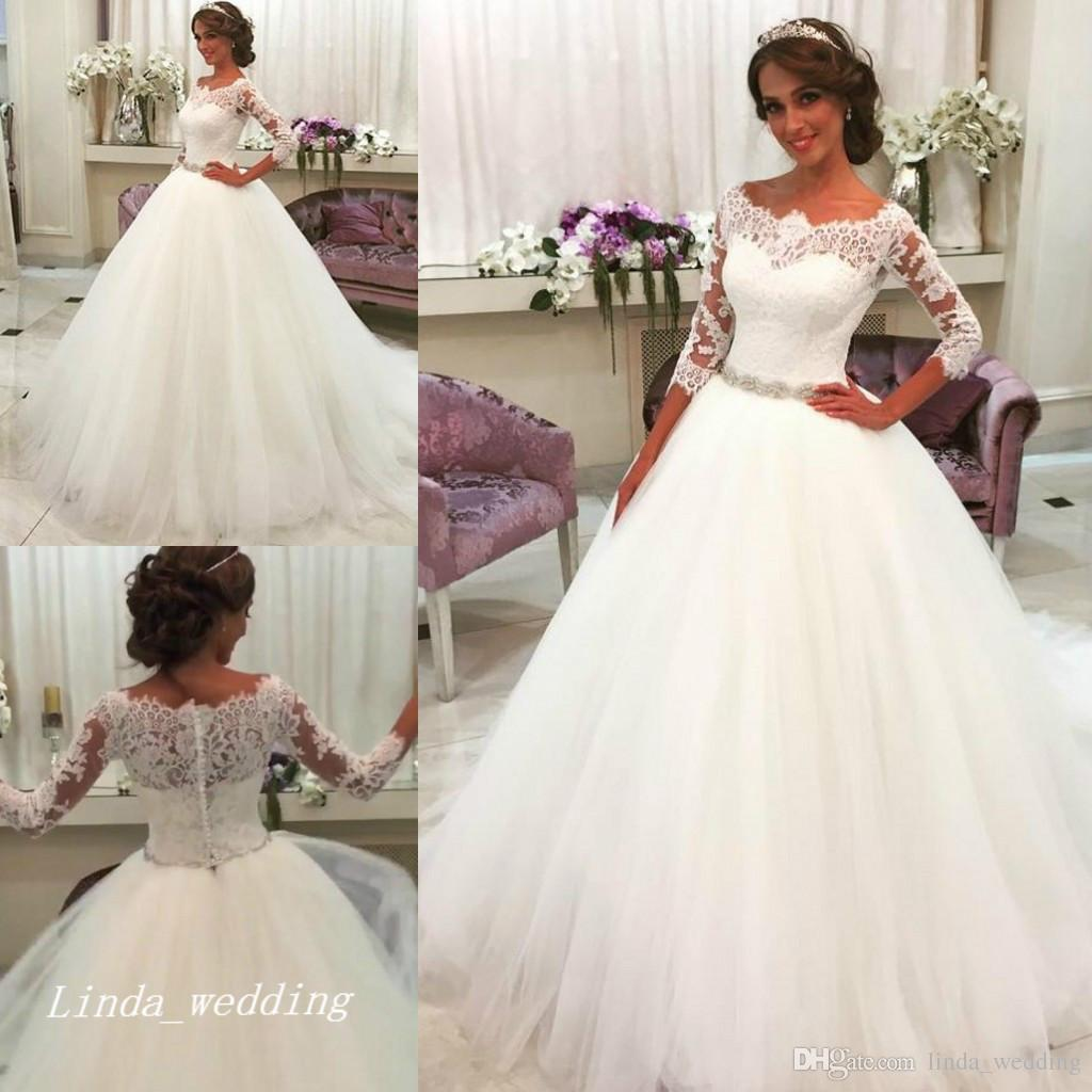 ee0ae3210a81 New Arrival Romantic White Wedding Dresses Ball Gown Tulle Lace Long Dream  Princess Bridal Party Gowns Plus Size Ball Gown Wedding Gowns Ball Gowns  Wedding ...