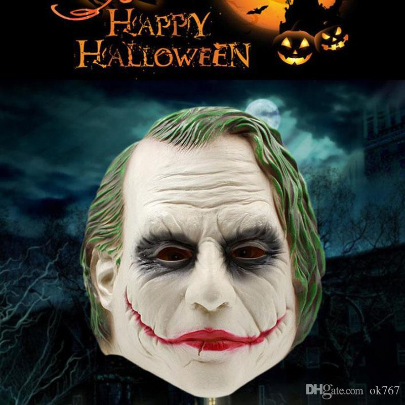 Realistic Scary Halloween Masks.Joker Mask Realistic Batman Clown Costume Halloween Mask Adult Cosplay Movie Full Head Latex Party Mask