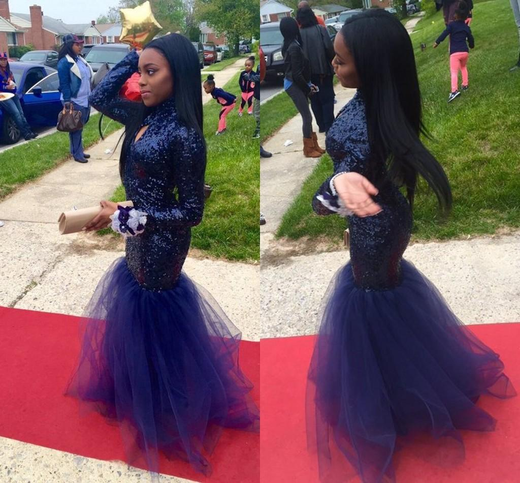 2k16 New Black Girl Prom Sequins Mermaid Prom Dresses Long Sleeves ...